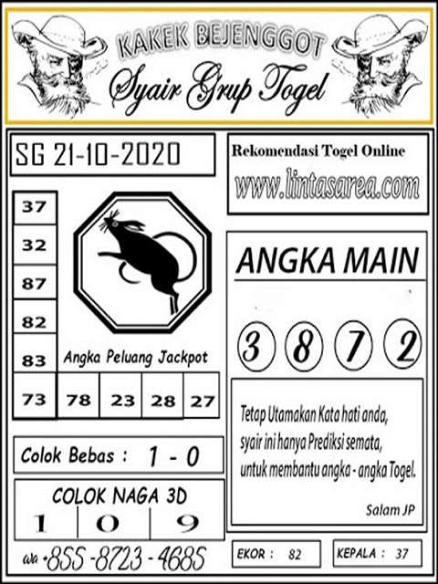 Kode syair Singapore Rabu 21 Oktober 2020 126