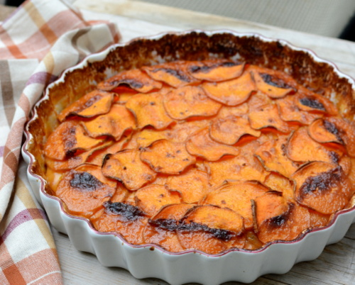BBQ Scalloped Sweet Potatoes ♥ AVeggieVenture.com. Just Six Ingredients! A Fall Classic. Beautiful Color & Impressive Appearance. Perfect for Thanksgiving & Holiday Meals. Great for Meal Prep. Naturally Gluten Free.