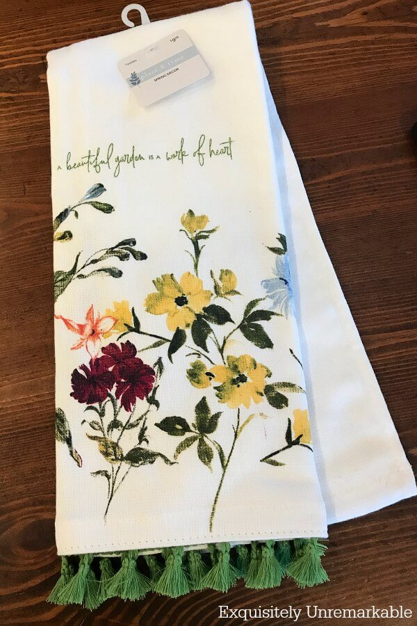 Kitchen Towel with flowers and fringe