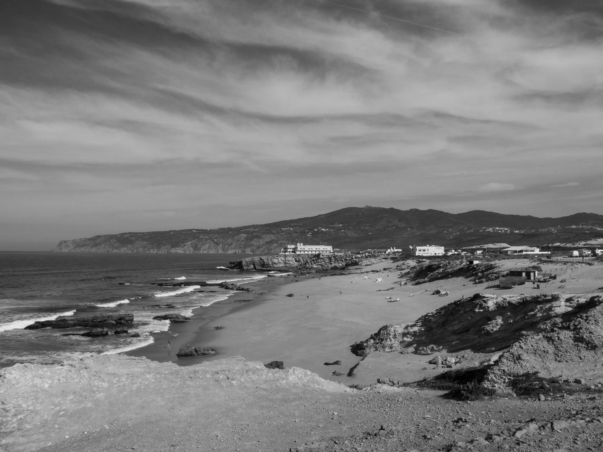 Black and white landscape of Praia da Guincho in Portugal.