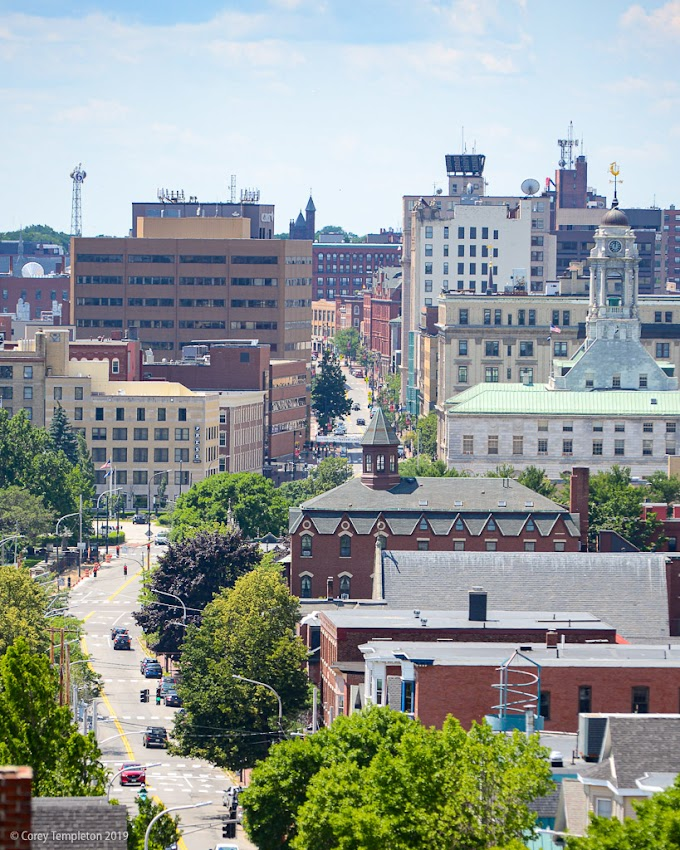 Portland, Maine USA July 2019 photo by Corey Templeton. The path down Congress Street, from the Portland Observatory.