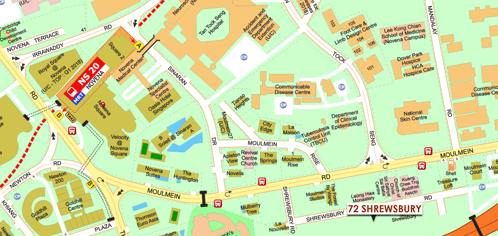 Serviced Apartments - Singapore 72 Shrewsbury Map