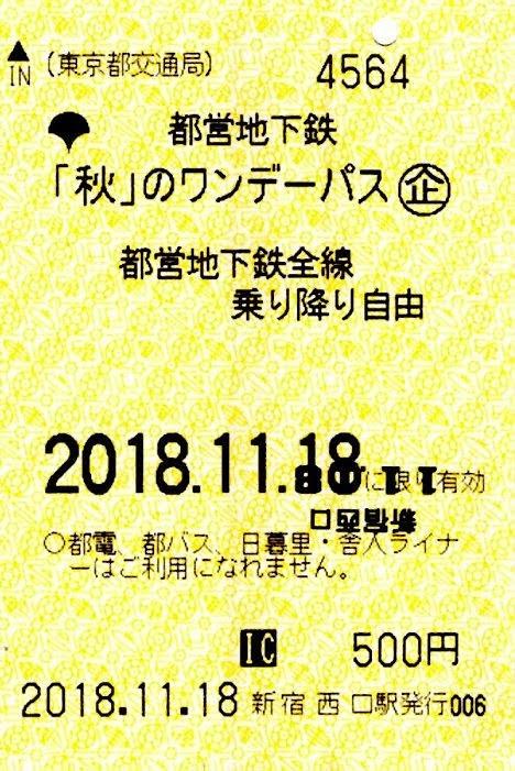 東京都交通局 都営地下鉄ワンデーパス1 冬