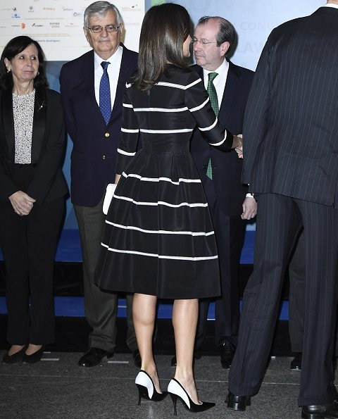 Queen Letizia wore a new flare striped cocktail dress by Carolina Herrera