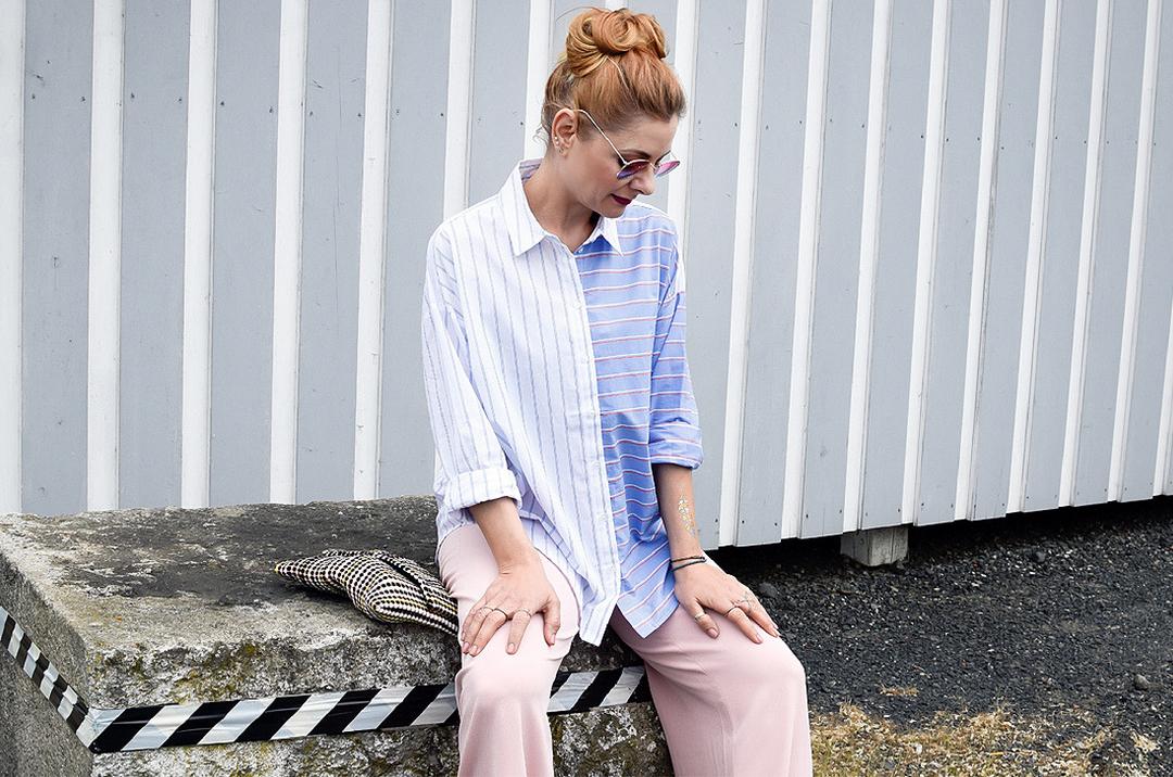 Marlene Hose in Rosa, Hemdbluse in Hellblau mit Streifen, Modeblog für Frauen Ü40