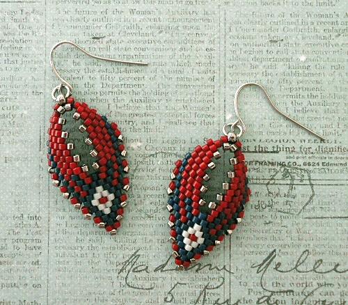1696b9468 Linda's Crafty Inspirations: Russian Leaf Earrings - Red, White & Blue