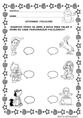 Atividade de folclore para 1 ano com personagens folclóricos  para imprimir e colorir.