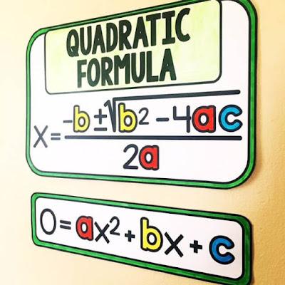Quadratic Formula reference in an algebra word wall