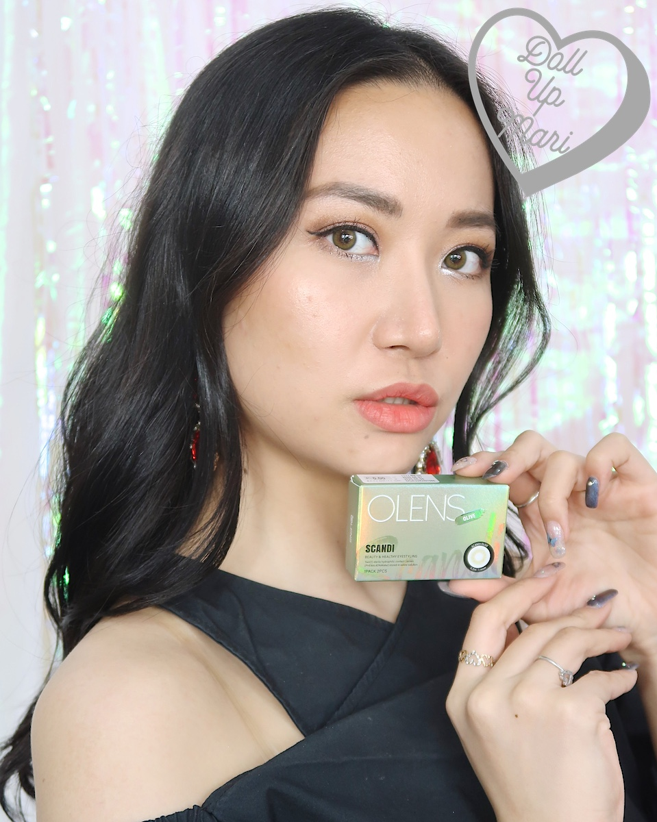 dollupmari wearing OLens Scandi Olive BlackPink Contact Lenses