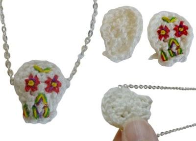 Calavera aplique crochet para colgantes de bisutería
