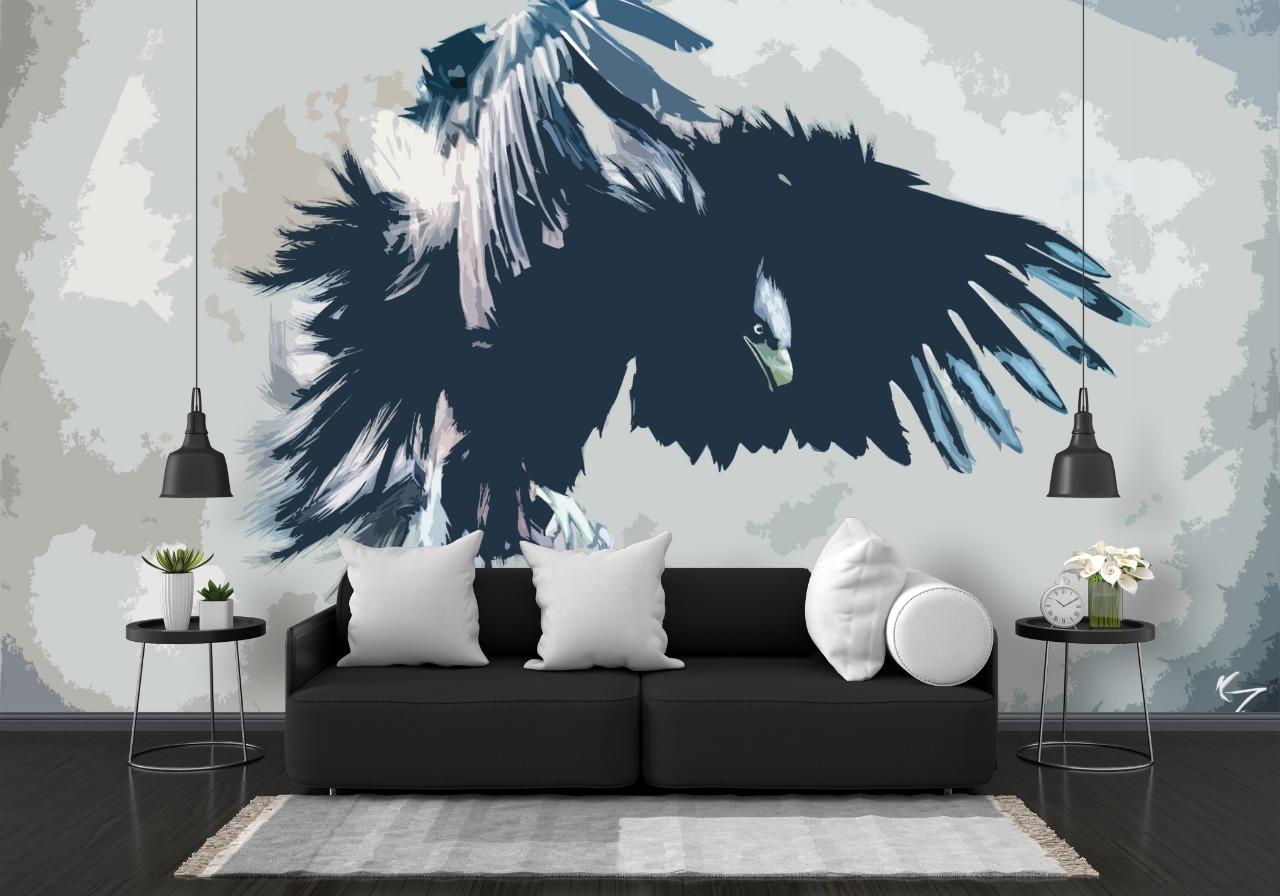 wallpaper diding custom untuk ruang tamu