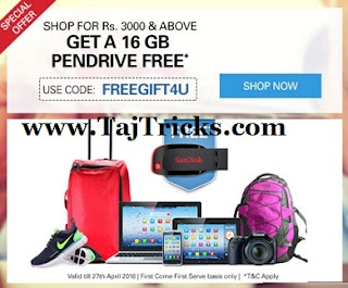 Ebay-Get 16GB pendrive free on order of Rs3000 or more at Ebay