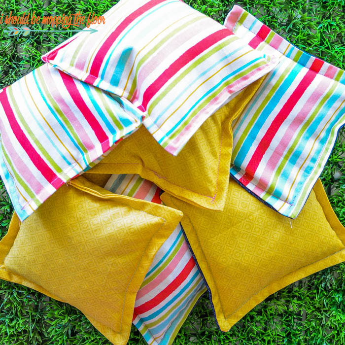 DIY Regulation Cornhole Bags | Make your own fun and colorful cornhole bags with this simple tutorial.