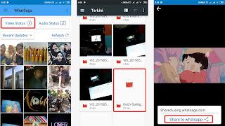langkah kirim ke status video 30 detik lebih whatsapp dengan WhatSaga