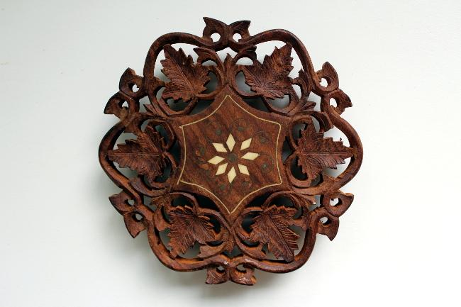 india carved wood trivet