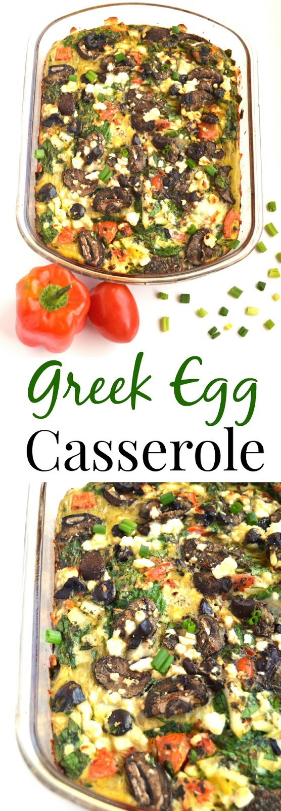 This Greek Egg Casserole combines all your favorite Greek flavors including feta cheese, kalamata olives, tomatoes, onions, peppers and more! www.nutritionistreviews.com