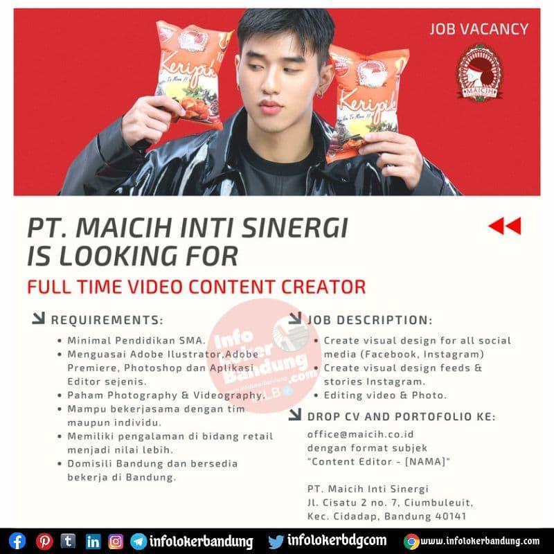 Lowongan Kerja PT. Maicih Inti Sinergi Bandung Agustus 2021