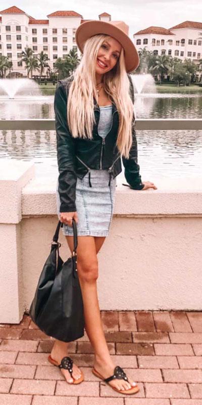 24 Cute Fall Outfits You Should Already Own. Fall Style & Fashion for Women via higiggle.com | mini denim dress outfits | #minidress #falloutfits #fashion #jacket