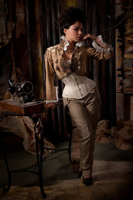 An example of longline corsets used in women's steampunk fashion. This woman wears her longline corset with a cropped jacket and trousers.