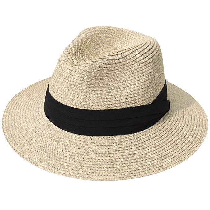 Lanzom Wide Brim Fedora Beach Hat