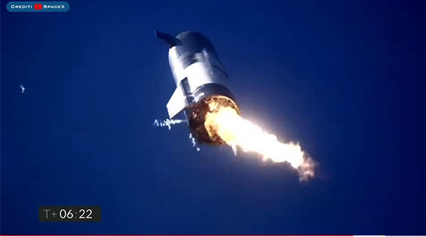 Starship SN9 readies for landing, but only one engine? (Source: SpaceX)