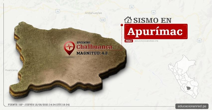 Temblor en Apurímac de Magnitud 4.3 (Hoy Jueves 12 Agosto 2021) Sismo - Epicentro - Chalhuanca - Aymaraes - IGP - www.igp.gob.pe