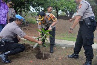 Kapolres Ciko Tanam Berbagai Macam Jenis Pohon Mangga Untuk Penghijauan