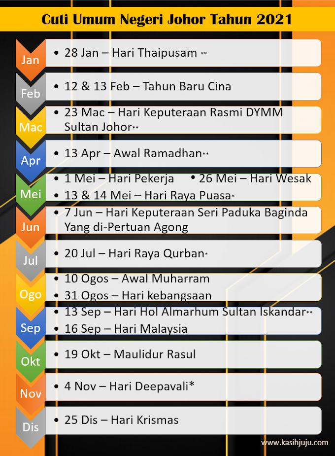 Senarai Cuti Umum Negeri Johor 2021