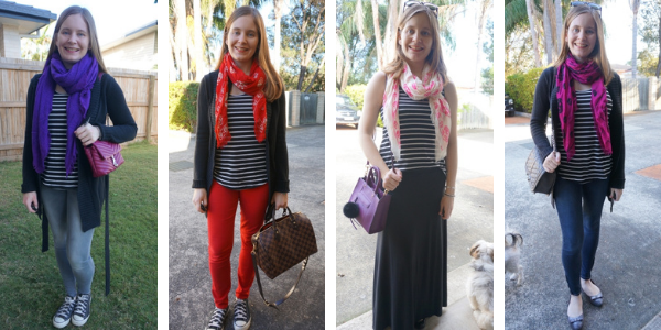 4 ways to wear striped tank with printed scarf awayfromblue