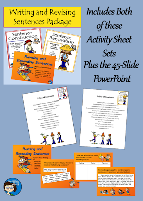 Writing and Revising Sentences, Activity Sheets and PowerPoint