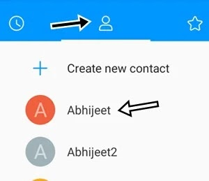 contact icon par click kar conatact name par click kare