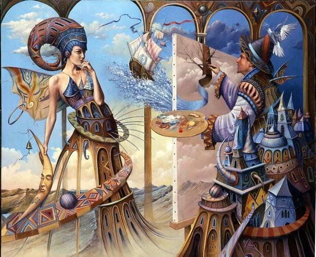 13-Painter-and-Model-Tomek-Sętowski-Oil-Paintings-Magical-Realism-meets-Surrealism-www-designstack-co