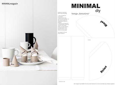 Eierkostüme für eine Faschingsdeko aus Papier selber basteln - die Druckvorlage findest du im MINIMALmagazin - minimalistische Raumideen