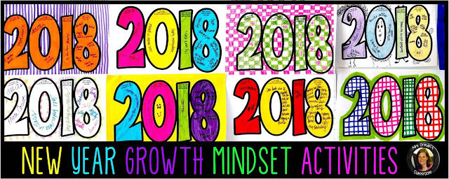 New Year Growth Mindset Creative Activities 2018 www.traceeorman.com