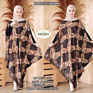 Batik Tunik Kalesha Paris Dress Asimetris kode49