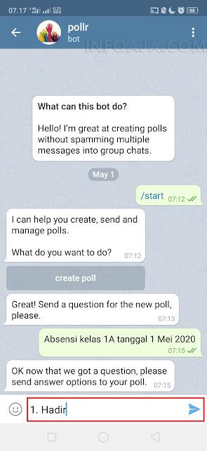 absen hadir di aplikasi telegram
