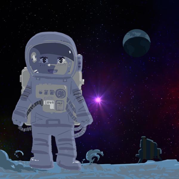 月面と宇宙服の少女