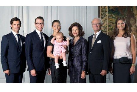 Princess Madeleine, Queen Silvia, Princess Estelle, Crown Princess Victoria, Prince Carl Philip, King Carl Gustaf, Prince Daniel