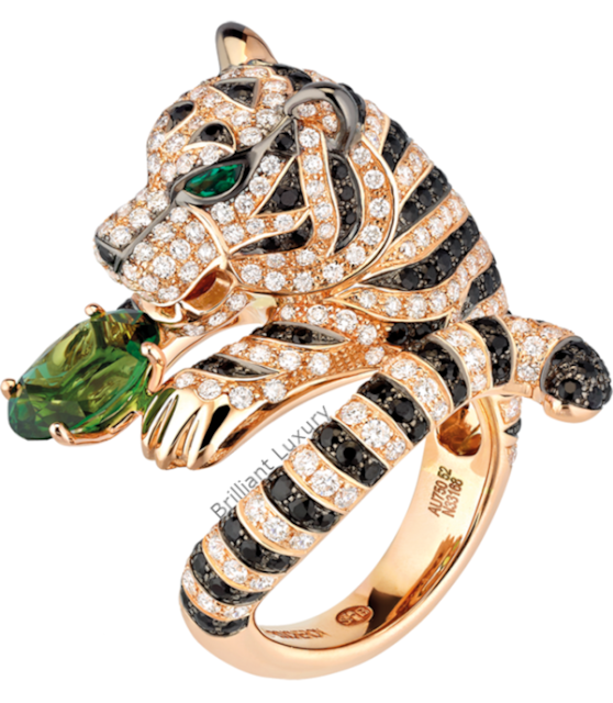 Brilliant Luxury♦Boucheron Paris Bagha Tiger tourmaline ring