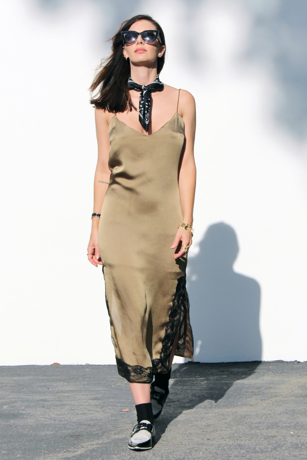 slip dress and loafers street style summer 2016