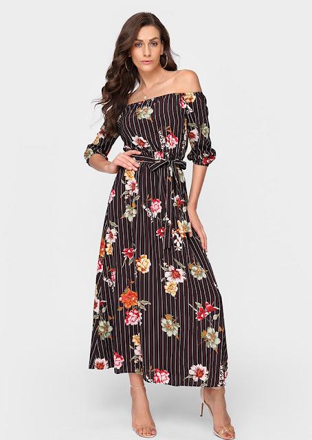 Floral Off Shoulder Maxi Dress