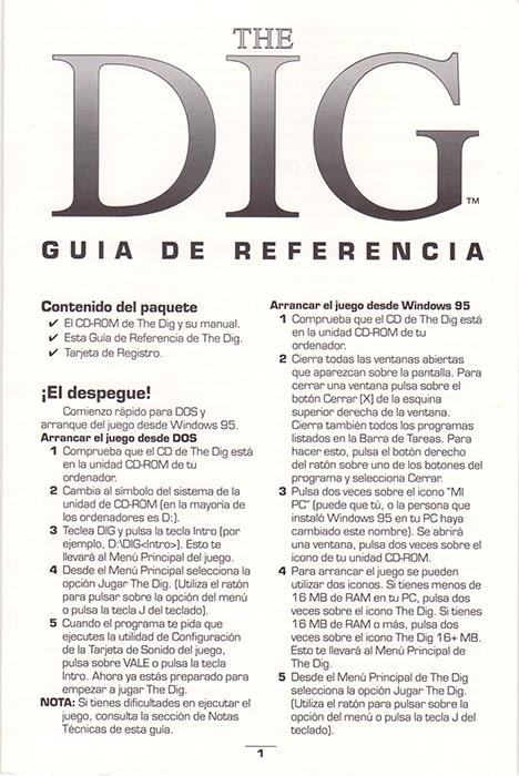 The Dig PC Guía de referencia