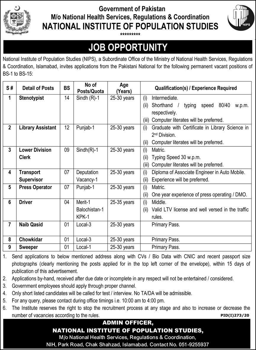National Institute of Population Studies Islamabad Jobs