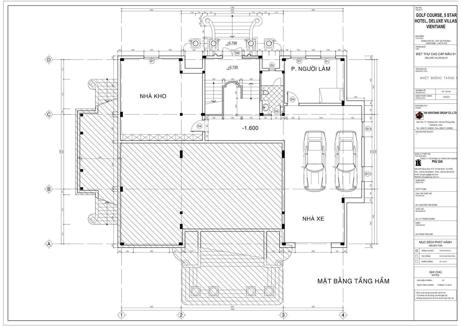 Mặt bằng tầng hầm Biệt thự cổ điển 3 tầng