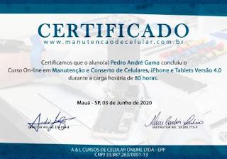 Certificado de Conclusão - Melhor Curso de Manutenção de Celular do Brasil