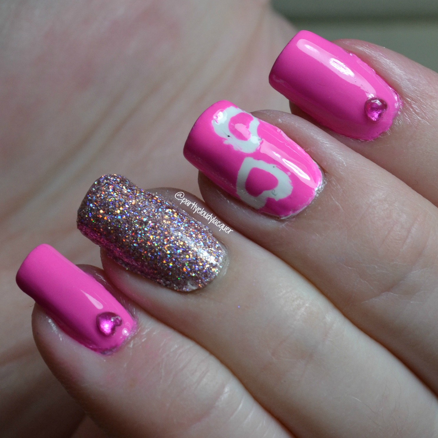 Partly Cloudy With A Chance Of Lacquer Pink Heart Skittle Nails
