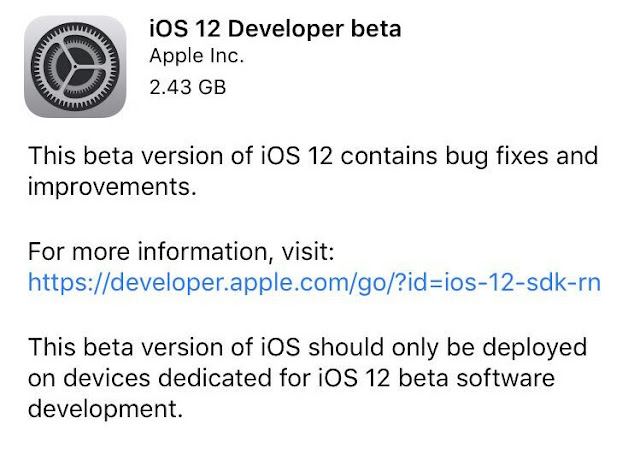 iOS 12 Developer Beta Update iPhone