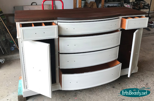 Vintage Bow front buffet makeover using General finishes reverent gray milk paint