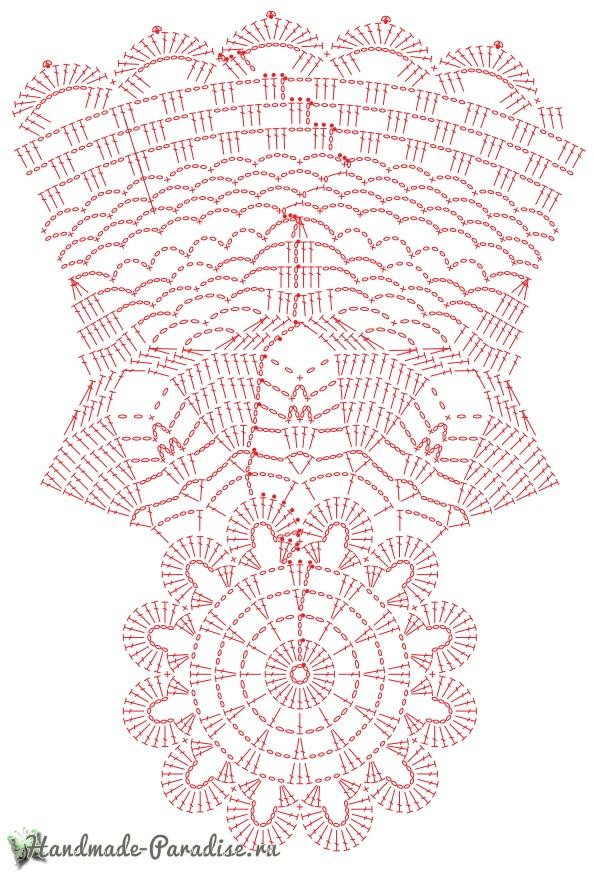 Схема вязания рождественской салфетки
