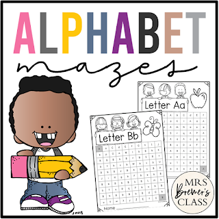 Alphabet letter mazes for uppercase and lowercase letter practice in Kindergarten